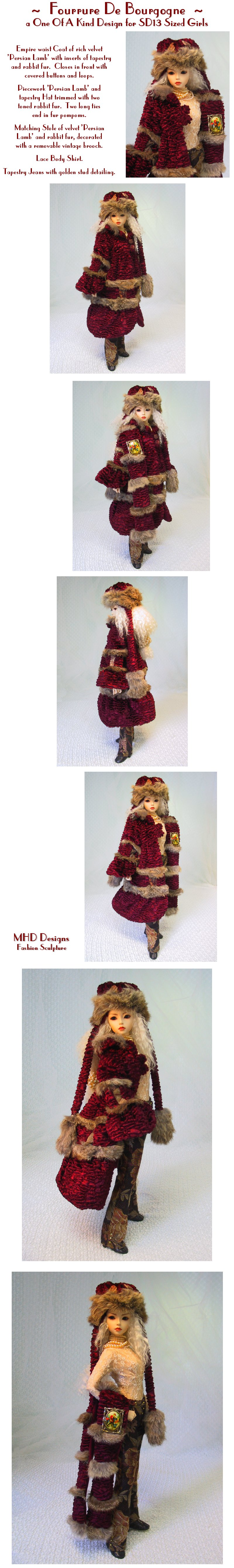 Fur From Burgundy - an OOAK Design by MHD Designs - 7 High Resolution Photographs, your patience is appreciated!