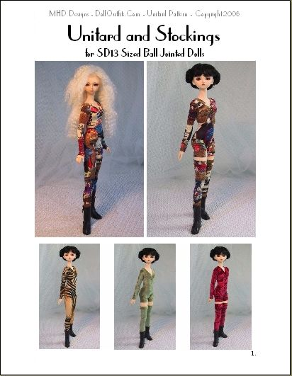 Unitard and Stockings Fashion Pattern for SD13 Size Dolls